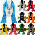 Women Lady Beads Soft Drop Jewelry Pendant Necklace Scarf Stole Shawl Neck Wrap