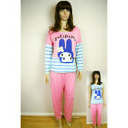 Ladies Womens Hello Kitty Miffy Rabbit Set of 3 Top Trousers Pyjamas Nightwear