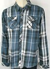 Rusty Surf  Plaid Shirt Bishop Blue 100% Cotton Rusty Shirt Rusty 100% Cotton