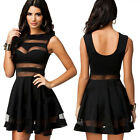 Women Celeb Sexy Ladies Mesh Panel Mini Cocktail Party Ball Gown Top Skirt Dress