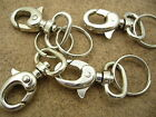 Bag Clasps Lobster Swivel Trigger Clips with Split Rings Silver Plated 9219S