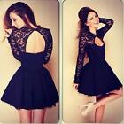 New Sexy Women Floral Long Sleeve Lace Backless Evening Party Mini Dress Hottest