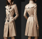 Hot Womens Wind Double-Breasted Coat long warm jacket coat trench parka outwear#