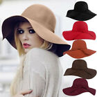 Womens Lady Floppy Wide Brim 65%Wool Felt Fedora Cloche Hat Cap Coffee Top Level