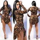 Sexy Women Leopard Print Long Sleeves Asymmetric Club Casual Bandage Mini Dress