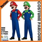 New Boys Super Mario Luigi Brothers Bros Nintendo Childrens Fancy Dress Costume