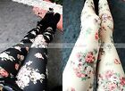 Women's Skinny Black Ivory Floral Print Leggings Stretchy Jeggings Pants