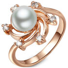 Follon New Women's Fashion White Pearl 18KGP Rose Gold Inlay Ring 7 8 9 Sizes