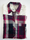 NWT Lucky Brand Women's Plaid Button Down Shirt With Lace
