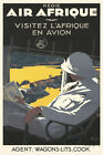 Art Deco Vintage French Aviation Poster Air Afrique 1930s Retro Flight Aeroplane