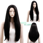 """20""""-28"""" Long Straight Jet Black Lace Front Synthetic Wig"""
