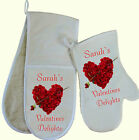 Personalised Rose Heart Oven Gloves / Mitt Lovely Valentines GIFT Cooking BBQ