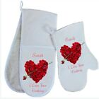 Personalised Rose Heart Oven Gloves / Mitt Lovely Valentines GIFT I Love Cooking