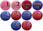 Birthday Pin Back Button 1st 2nd 4th 5th 6th Child's Boy or Girl Satin Covered