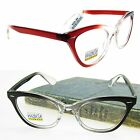 "Reading Glasses Cat Eye Gals moXie NWT$29.99 Clear&Wine ""Ms Kitty"" +1.00~+3.00"