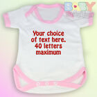 Your Choice of Words - Personalised Embroidered Baby Vest Pink Trim - Baby Gift