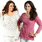 Ladies Cotton Jumpers Plus UK size 10 - 28 Pink or White v Neck Sweaters