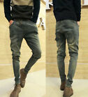 Korean Men's Denim Zip Pocket Skinny Harem Pants Jeans Fashion Trousers 28-34