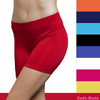 Seamless Stretch Bike Shorts Solid Colors Spandex Workout Basic Plain Tight Pant