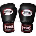 Twins Muay Thai Boxing Gloves Velcro Black (N) Leather MMA Kick Boxing Free DVD