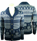Mens Shawl Neck Cardigan Jacquard Aztec Button Jumper Fairisle Sweater size S-XL