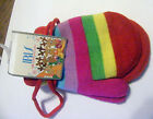 Teal red Purple pink yellow Striped Multi colored Stringed Mittens ages 2-4