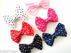 Pretty Spotty Satin Bow Hair clip Hair Grip Fascinator *UK SELLER*