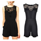 Womens Party Lace Mesh Panel Evening Summer Sleeveless Jumpsuit Playsuit Beach