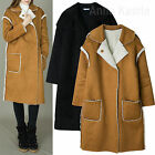 AnnaKastle Womens Ladies Faux Shearling Trimmed Long Coat Winter Jacket sz S - M