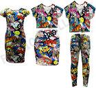NEW GIRLS COMIC BOOK PRINT CROP TOP MIDI DRESS LEGGING SKIRT 7-13 YEARS