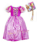 Disney Princess Rapunzel Children Girls Kids Gown Costume Halloween Dress 3-9 Yr