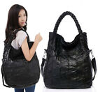 New Black Women Genuine Leather Sheepskin Handbag Shoulder Tote Bag S,L