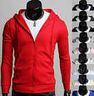 Mens Premium Solid Colors Hooded Zip-up Hoodie Jumper Top D-001 XS/S/M KOREA