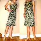 $690 Just Cavalli Italy Silk Blend Black Gold Logo Party Cocktail Dress IT42/6-8
