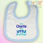 Personalised I'm the Little Brother Embroidered Baby Bib Blue Trim Boy Gift