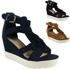 LADIES WOMENS FAUX SUEDE BUCKLE ZIP WEDGE PLATFORM PUMPS PARTY SHOES SIZE 3-8 UK