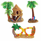 Aquarium Ornament Holiday Beach House Palm Tree Sun Glasses Fish Tank Decoration