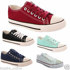 LADIES WOMEN FLAT CASUAL LACE UP DIAMANTE  PUMPS CANVAS PLIMSOLLS TRAINERS SHOES