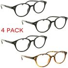 Fiore 4 Pack Reading Glasses Vintage Professor Style Readers for Men and Women