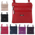 Ladies Small Leather Style Multi Zip Shoulder Bag / Cross Body Bag 7 Colours
