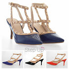 NEW Women's Studded Ankle Strap Pointed Toe Stiletto Party Patent Heels