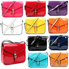 Ladies Women Patent Faux Leather Cross Messenger Satchel Bag