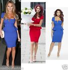 Amy Childs Style Peplum Bodycon Midi Ella Blue OR Red Party TOWIE Size 8 to 16