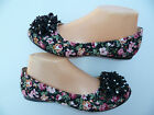 BLACK FLORAL WOMEN'S FLAT SHOES VIA PINKY SIZE : 6-7.5