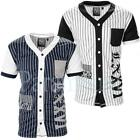 Soulstar Striped V Neck American Baseball T-Shirt  Mens Size