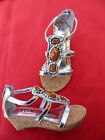 NEW SILVER GIRLS WEDGE SANDALS SIZE 9-1