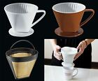 Cilio Porcelain or Mesh, White or Brown Coffee Filter, 1,2,4 or 6 Cup