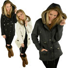 Raiken Drawstring Waist Fishtail Fleece Parka Coat  Womens Size