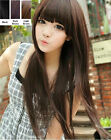 New Fashion Womens Black Brown Long Straight Full Cosplay Hair Wigs Wig Cap Gift