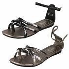 **SALE** SPOT ON FLAT ANKLE STRAP SANDAL AVALIABLE IN BLACK AND PEWTER F0415